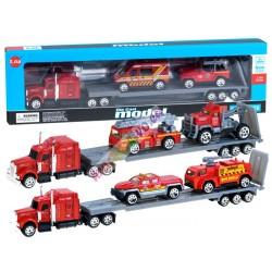 Hasičská auta set + náklaďák, kovové 1:64