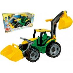 Traktor se lžící a bagrem zeleno-žlutý, 65 cm
