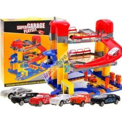 Patrová garáž s výtahem + 6 autíček
