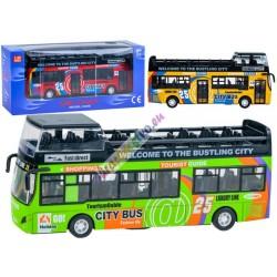 Kovový patrový autobus s otevíracími dveřmi a světlem, 3 barvy