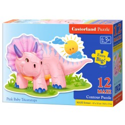 Castorland MAXI 12 Puzzle Pink baby triceratops