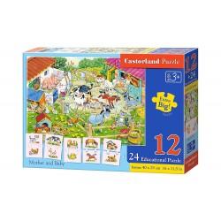Castorland Puzzle Matka a dieťa, 12 dielikov + 24 edukatívne puzzle