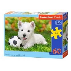 Castorland Puzzle  Biely teriér s loptou, 60 dielikov