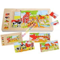 Edukativní dřevěné puzzle FARMA, 4v1