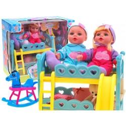 Poschodová posteľ pre bábiky, + 2 bábiky zdarma