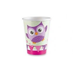 Papírové kelímky Happy Owl, 0,25l, 8ks