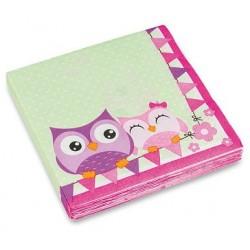 Papírové ubrousky na párty Happy Owl, 20ks