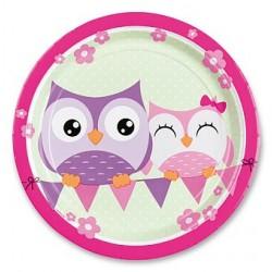 Papírové talířky Happy Owl, průměr 23cm, 8ks