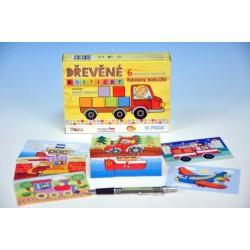 Drevené kocky kubus - Dopravné prostriedky