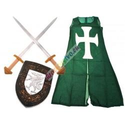 Rytířský plášť, štít + 2 meče