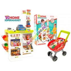 Dětský obchod s regály, vozíkem, čtečkou, pokladnou a váhou