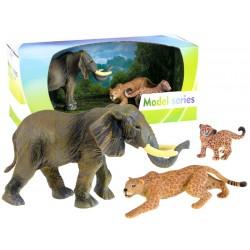 Ručne maľované zvieratká: Slon a leopardy