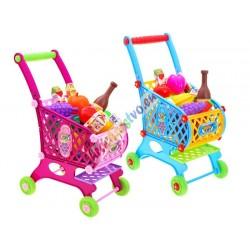 Velký dětský nákupní vozík se zbožím, 2 barvy