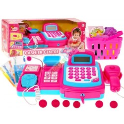Růžová pokladna s váhou, skenerem, košíkem a zbožím