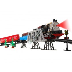 Elektrický vláček s vagóny na mostě