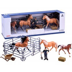 FunToys: Maľované kone s ohradou a príslušenstvom
