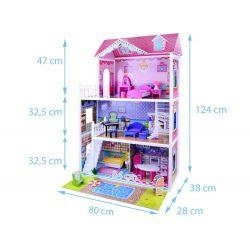 Veľký drevený domček pre bábiky, 124 cm