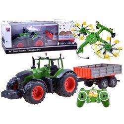 Traktor na diaľkové ovládanie  s vlečkou a obracačkou na diaľkové