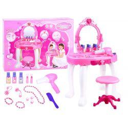 Krásny detský toaletný stolík so stoličkou a realistickými funkciami