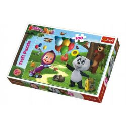 Puzzle Máša a medveď s priateľmi 100 dielikov