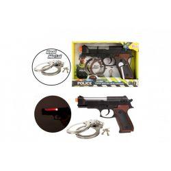 Policajný set: putá s kľúčom + zbraň