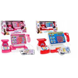 Detská dotyková pokladňa + nákupný košík s tovarom