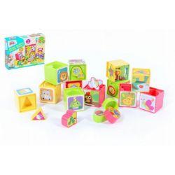 Farebné kocky s vkladačkami, 12 ks