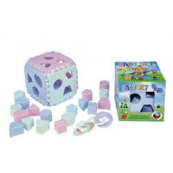 Baby kocka s vkladačkami + hryzadlá