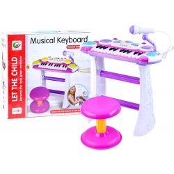 Dětské piano se stojanem, židličkou, mikrofonem, nahráváním