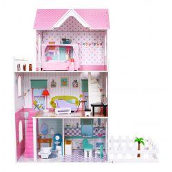 Veľký drevený domček pre bábiky so záhradkou a nábytkom, 124 cm