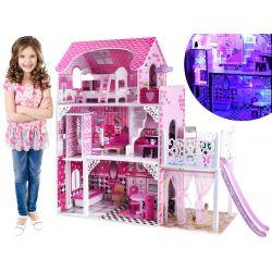 Drevený domček pre bábiky 90 cm, so šmýkačkou a výťahom