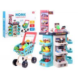 Detský obchod s pokladňou a príslušenstvom a nákupným vozíkom