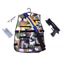Vojenská vesta s pištoľou, nábojmi a príslušenstvom