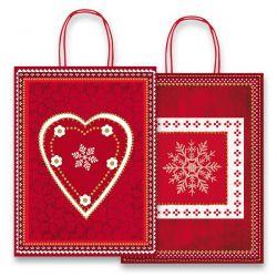 Vianočná pap.taška vel.M, Red/White