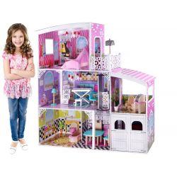 Veľký drevený domček pre bábiky s garážou, 112 x 110 cm