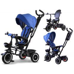 Trojkolka Tiny Bike 3v1 so strieškou tm.modra