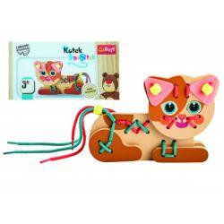 Mačička drevená hračka navlékacia