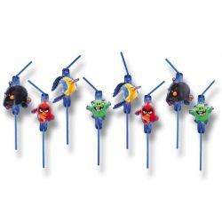 Plastové slamky Angry Birds, 8ks
