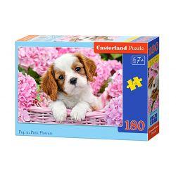 Castorland Puzzle Šteniatko v ružových kvetoch, 180 dielikov