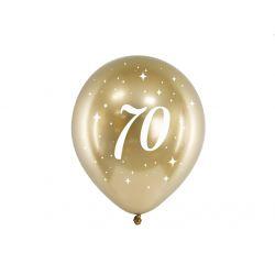 Balón 30cm, zlatý s číslom 70, 6v1