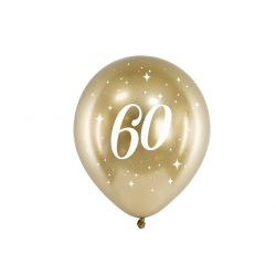 Balón 30cm, zlatý s číslom 60, 6v1