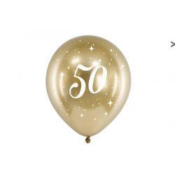 Balón 30cm, zlatý s číslom 50, 6v1