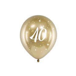 Balón 30cm, zlatý s číslom 40, 6v1