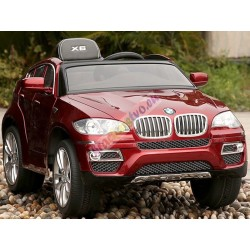 ELCARS elektrické BMW X6 červené LAKOVANÉ, multifunkčný panel, multif. diaľkové 2,4GHz, kožená sedačka, EVA kolesá, ŠPZ