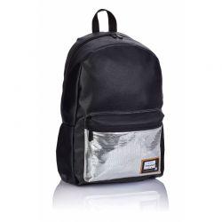 HEAD Black Silver- Štýlový koženkový batoh