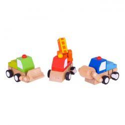 Bigjigs Toys Drevená autíčka naťahovacie - 3 druhy