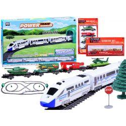 Osobný vlak, koľajnice 9 m + vojenské vagóny 3v1