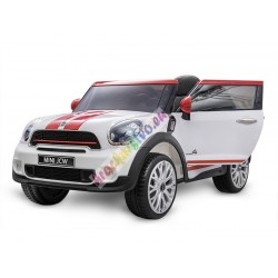 ELCARS elektrické autíčko Mini Cooper, kožená sedačka, multifunkční dálkové ovládání