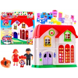 Velký poschoďový domeček pro panenky s postavičkami a nábytkem